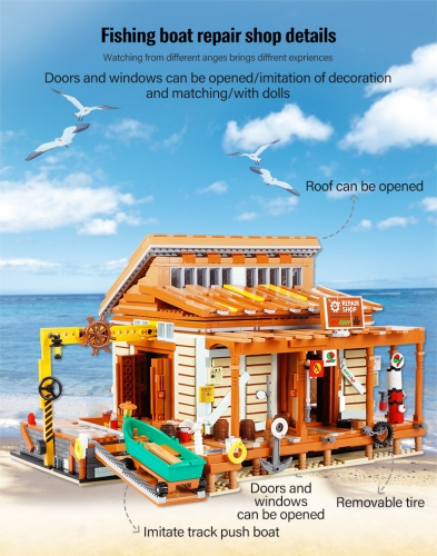 In Stock 2027pcs Creator  Ideas Movie Series Friends House Shipyard Building Block Fishing Boat Repair Shop City Bricks Toys For Children