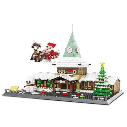 In Stock wg6218  Merry Christmas:Christmas House  Music Box  With Building Blocks Bricks Toys Gift 2228PCS Street View