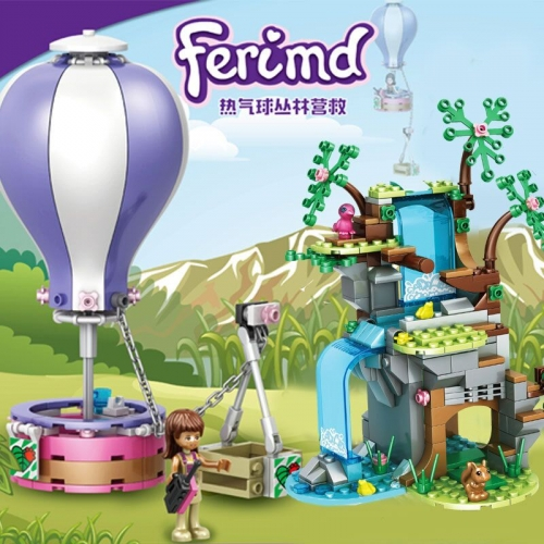 In Stock Girls Friends Jungle rescue hot air balloon  Building Block Brick  356 PCS  10665 3015 15001 moc