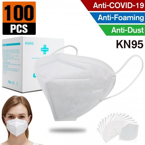 100 pcs KN95 Dust Masks Full Face Mask with Free Adjustable Headgear KN95 Full Face Mask Dust Masks