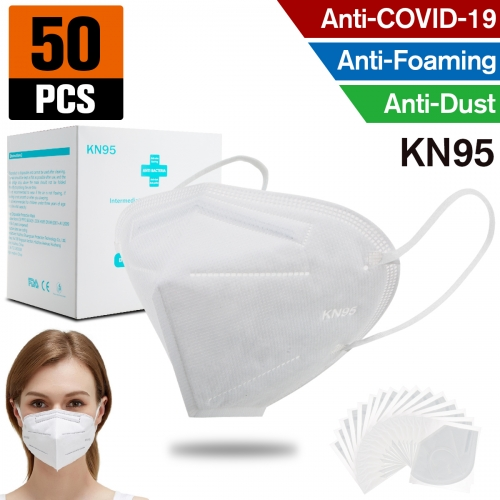 50pcs KN95 Dust Masks Full Face Mask with Free Adjustable Headgear KN95 Full Face Mask Dust Masks