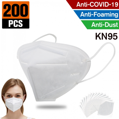 200 pcs KN95 Dust Masks Full Face Mask with Free Adjustable Headgear KN95 Full Face Mask Dust Masks