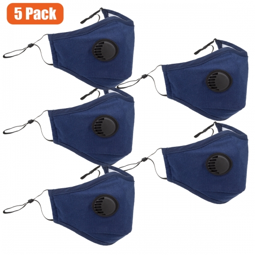 5 Pack Washable Reusable Black Cotton Mouth Cover,Unisex Breathing Valve Face Cover(Blue)