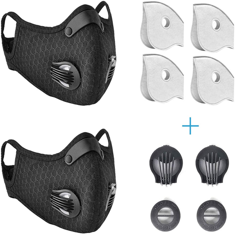 2 Pack Dust Mask, Prevent Saliva Safety Dust Mask with 4 filters and 2 Valves for Sports