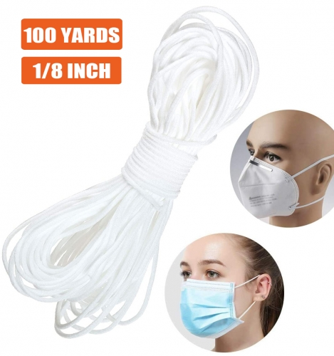 100 Yards 1/8 Inch White Elastic Band,Elastic Loop Cord Bands Rope for Sewing Crafts DIY Mask