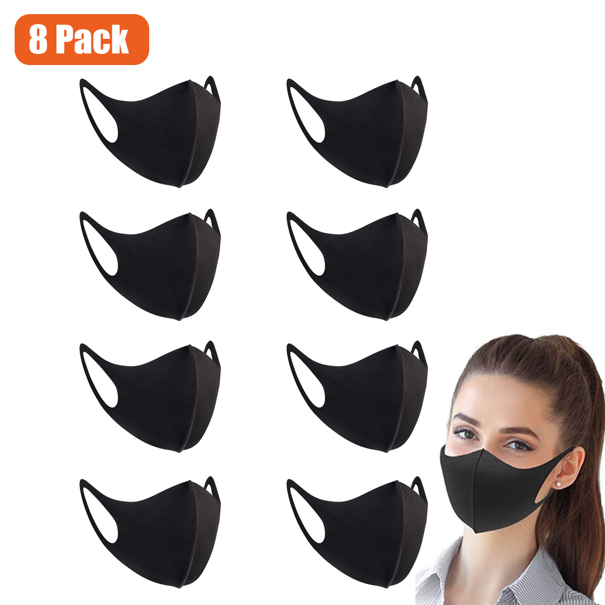 8 Pack Adults Unisex Fashion Cloth Fabric Mask, Earloop
