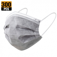 300 Pcs Grey Disposable Face Masks, 4 Ply Activated Carbon Protection Cover Dust ,No Washable,Breathable and Anti-Haze Dust,for Adults (300 Pcs,Grey)