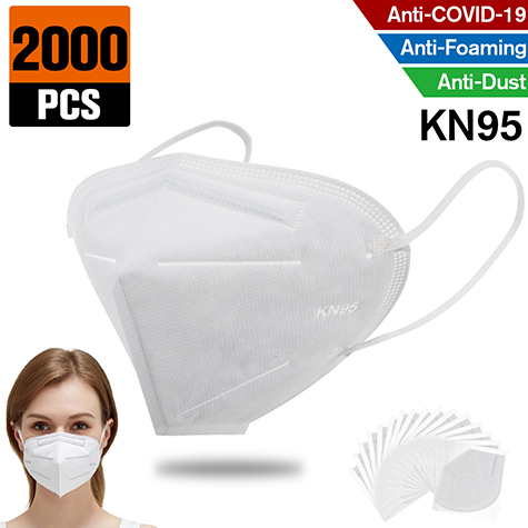 2000 pcs KN95 Dust Masks Full Face Mask Protection Filtration>95% Safety N95 Mask,Purifying and Breathable Dust Masks