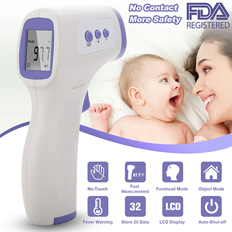 1pack(T3)New Forehead Thermometer Non-Contact Infrared Thermometer with Digital LCD Display(Purple)