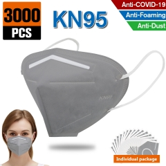 3000PCS KN95 Dust Masks Full Face Mask Protection Filtration>95% Safety N95 Mask Dust Masks(Grey)