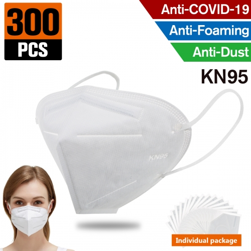 300 pcs KN95 Dust Masks Full Face Mask Protection Filtration>95% Safety N95 Mask,Purifying and Breathable Dust Masks