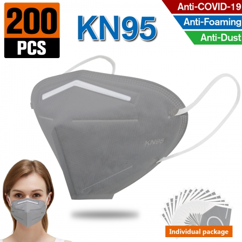 200PCS KN95 Dust Masks Full Face Mask Protection Filtration>95% Safety N95 Mask Dust Masks(Grey)