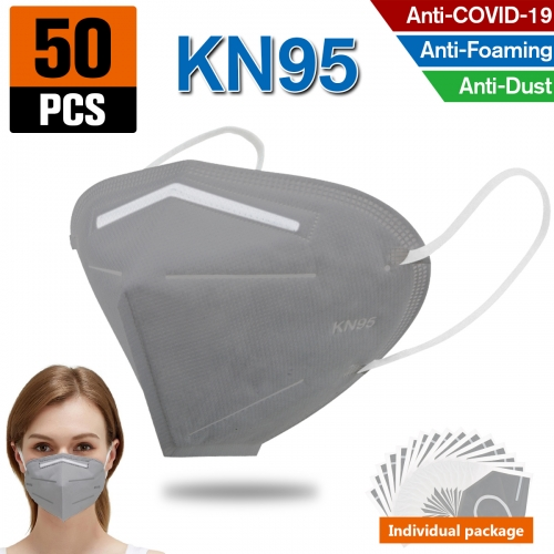 50PCS KN95 Dust Masks Full Face Mask Protection Filtration>95% Safety N95 Mask Dust Masks(Grey)