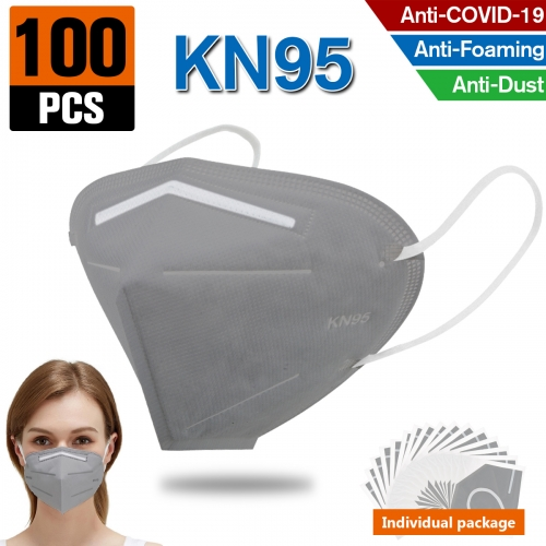 100PCS KN95 Dust Masks Full Face Mask Protection Filtration>95% Safety N95 Mask Dust Masks(Grey)