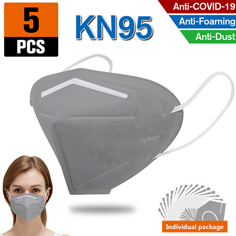 5PCS KN95 Dust Masks Full Face Mask Protection Filtration>95% Safety N95 Mask Dust Masks(Grey)