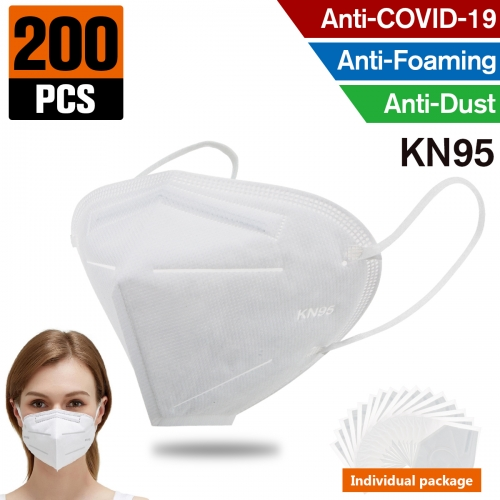 200 pcs  KN95 Dust Masks Full Face Mask Protection Filtration>95% Safety N95 Mask,Purifying and Breathable Dust Masks