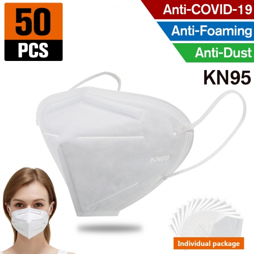 50pcs KN95 Dust Masks Full Face Mask Protection Filtration>95% Safety N95 Mask,Purifying and Breathable Dust Masks