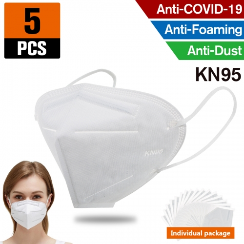 5pcs KN95 Dust Masks Full Face Mask Protection Filtration>95% Safety N95 Mask,Purifying and Breathable Dust Masks