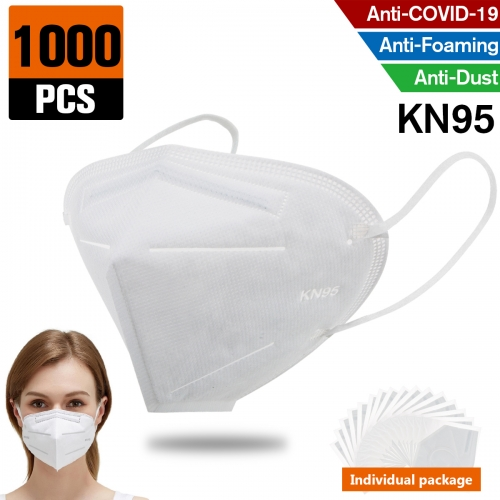 1000 pcs KN95 Dust Masks Full Face Mask Protection Filtration>95% Safety N95 Mask,Purifying and Breathable Dust Masks