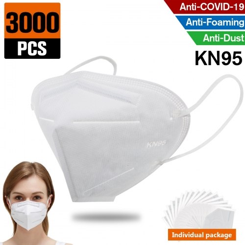 3000 pcs KN95 Dust Masks Full Face Mask Protection Filtration>95% Safety N95 Mask,Purifying and Breathable Dust Masks