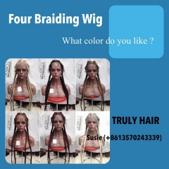 High quality four braiding wig synthetic mixed human hair materia 380g per piece