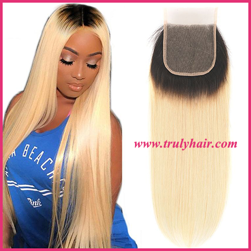 4x4 color 1B/613 closure natural straight