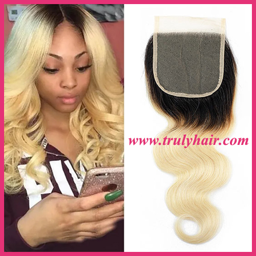 4x4 color 1B/613 closure body wave