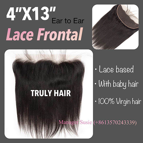 4x13 Natural color frontal natural straight
