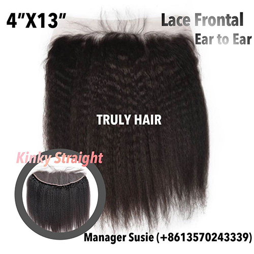 4x13 Natural color frontal kinky straight
