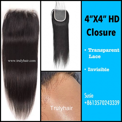 "HD lace closure natural straight 4""X4"""