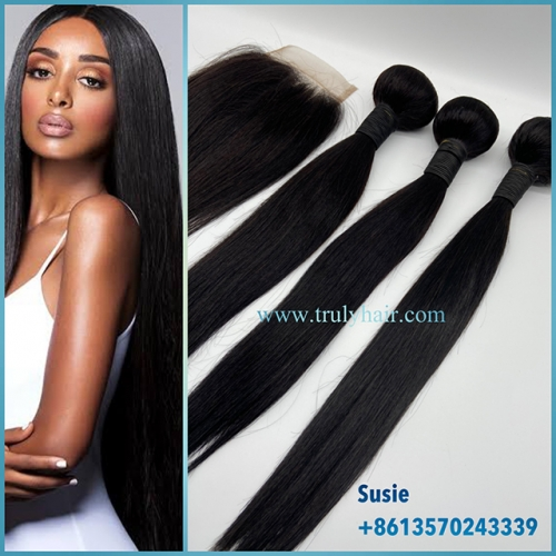 "3 pcs straight hair bundles plus 1 pc 4""X4"" free closure"
