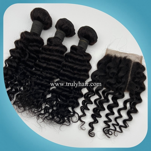 "3 pcs deep curly hair bundles plus 1 pc 4""X4"" free closure"