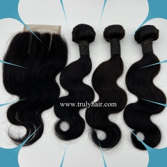 "3 pcs body wave hair bundles plus 1 pc 4""X4"" free closure"
