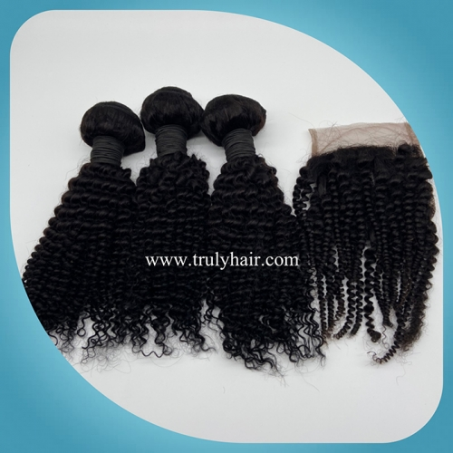 "3 pcs kinky curly hair bundles plus 1 pc 4""X4"" free closure"