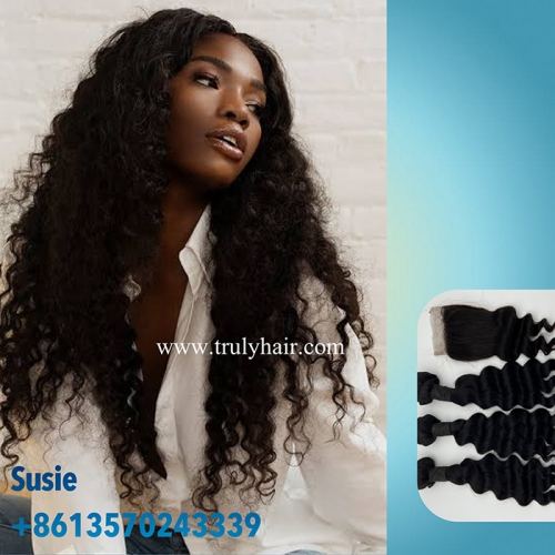 "3 pcs deep wave hair bundles plus 1 pc 4""X4"" free closure"