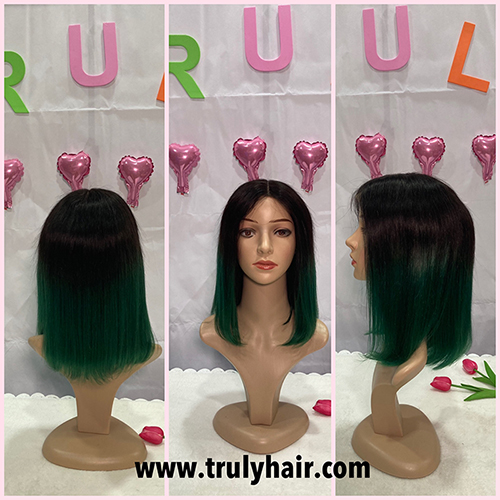 50% off color 1B/Green human hair bob wig 14inches