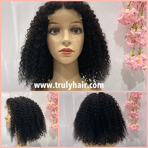 50% off color 1B human hair curly bob wig 14inches