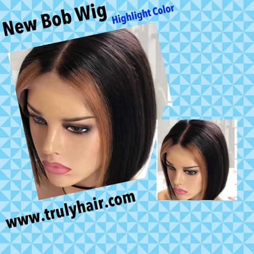 12A 4X13 lace frontal highlight bob wig color #30