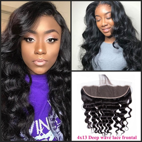 4x13 Natural color lace frontal deep wave loose deep