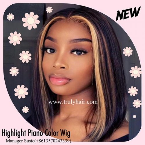 12A 4X13 lace frontal highlight piano color bob wig