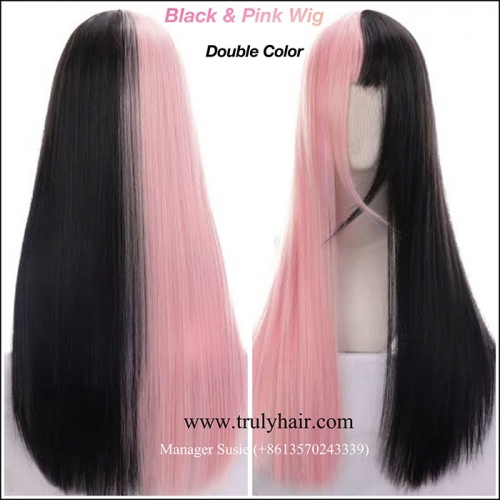 Black & pink wig Double colors