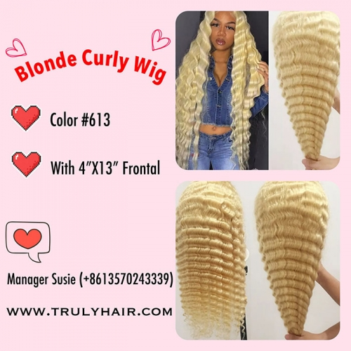 12A Blonde curly wig color 613 wig