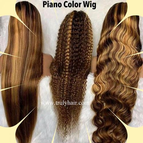 Piano color wig customized lace wig Piano color