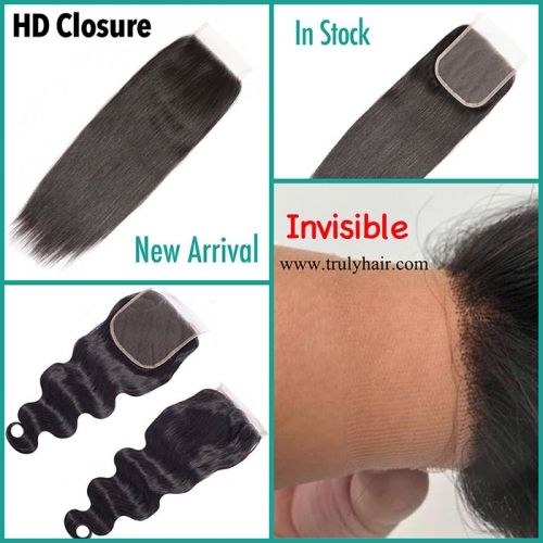 "HD lace closure natural straight 4""X4"" closure"