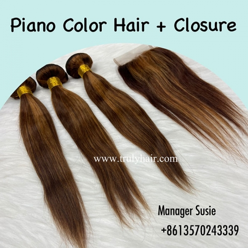 Free closure!Piano hair 3 pcs with free piano closure