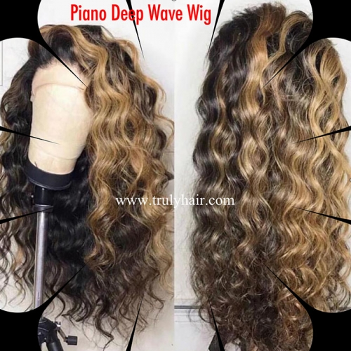Piano deep wave color lace wig