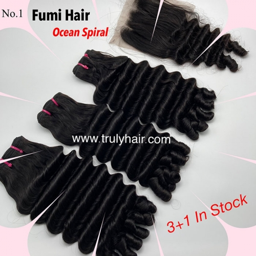Free closure ! Funmi hair ocean spiral 3 pcs with 1 pc free closure