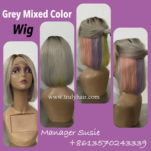 Grey mixed color wig