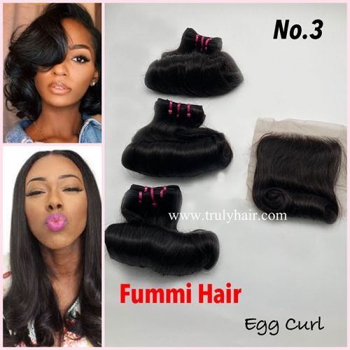 Free closure ! Funmi hair egg curl 3 pcs with 1 pc free closure