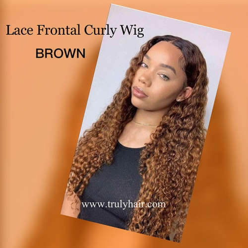 Brown curly lace wig customized wig by hair bundles and  4X13 lace frontal